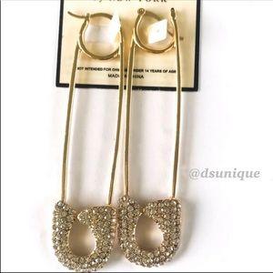 Jewelry - HOT🔥🆕SAFETY PIN RHINESTONE  EARRINGS